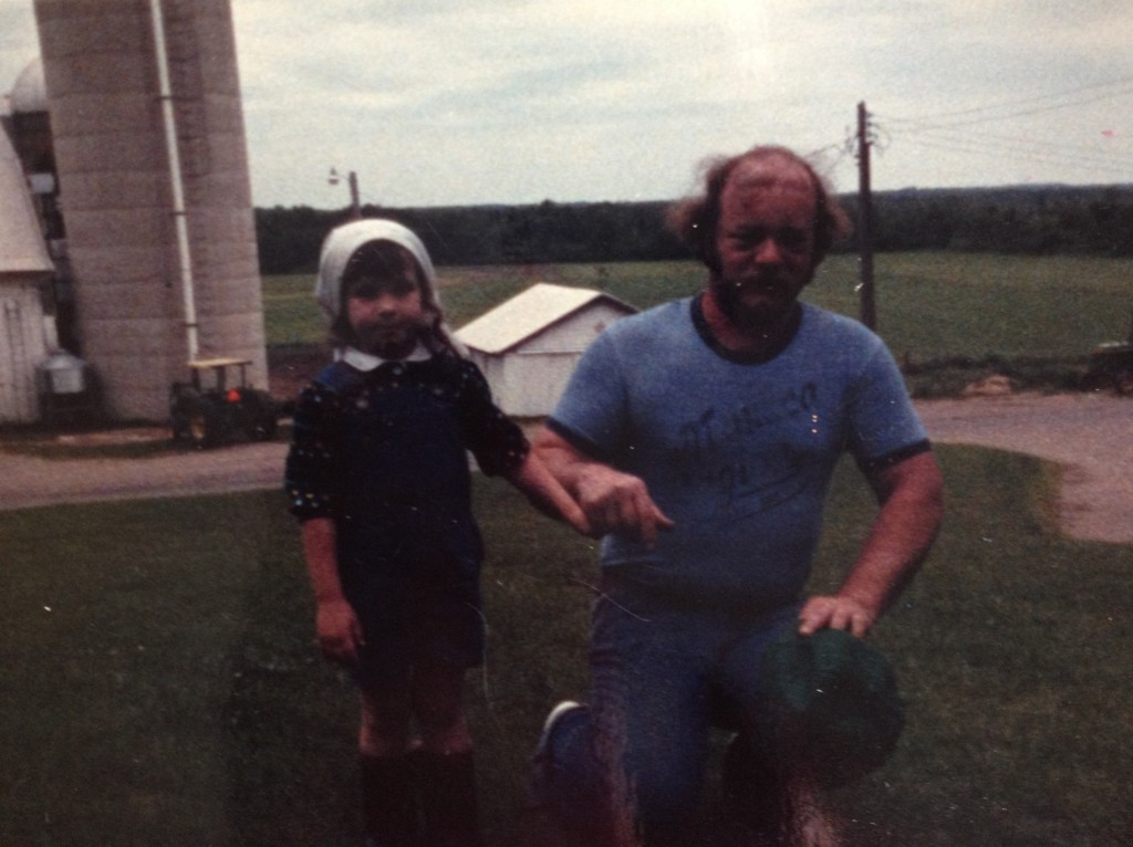 on the farm with my dad after he was in the tornado - you can still see his stiches