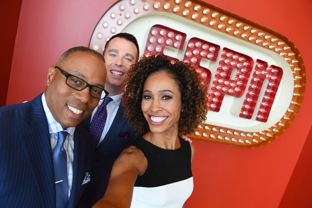 Bristol, CT - August 21, 2017: Portrait of Jay Harris, Sage Steele and Randy Scott (Photo by Joe Faraoni/ ESPN Images)